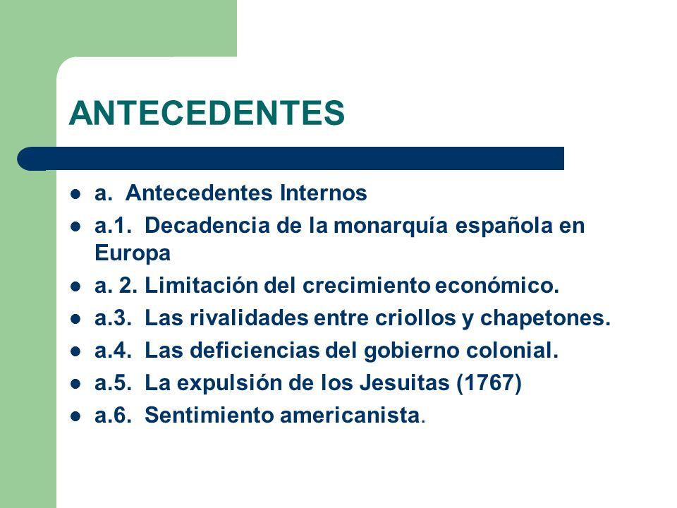 ANTECEDENTES a. Antecedentes Internos a.1. Decadencia de la monarquía española en Europa a. 2. Limitación del crecimiento económico. a.3. Las rivalida