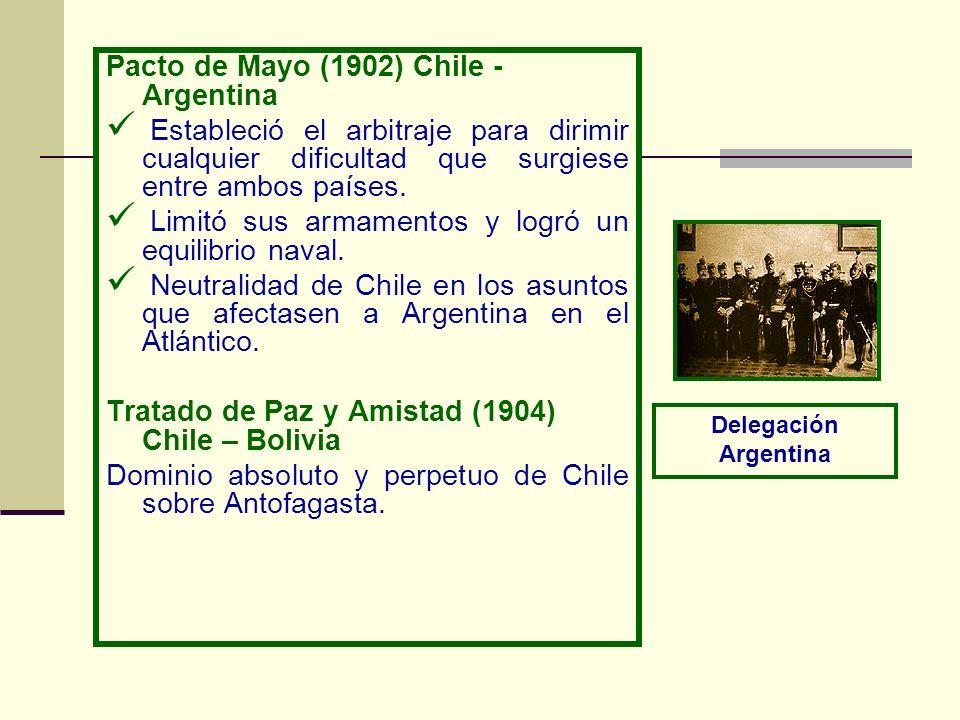 Pacto de Mayo (1902) Chile - Argentina Estableció el arbitraje para dirimir cualquier dificultad que surgiese entre ambos países. Limitó sus armamento