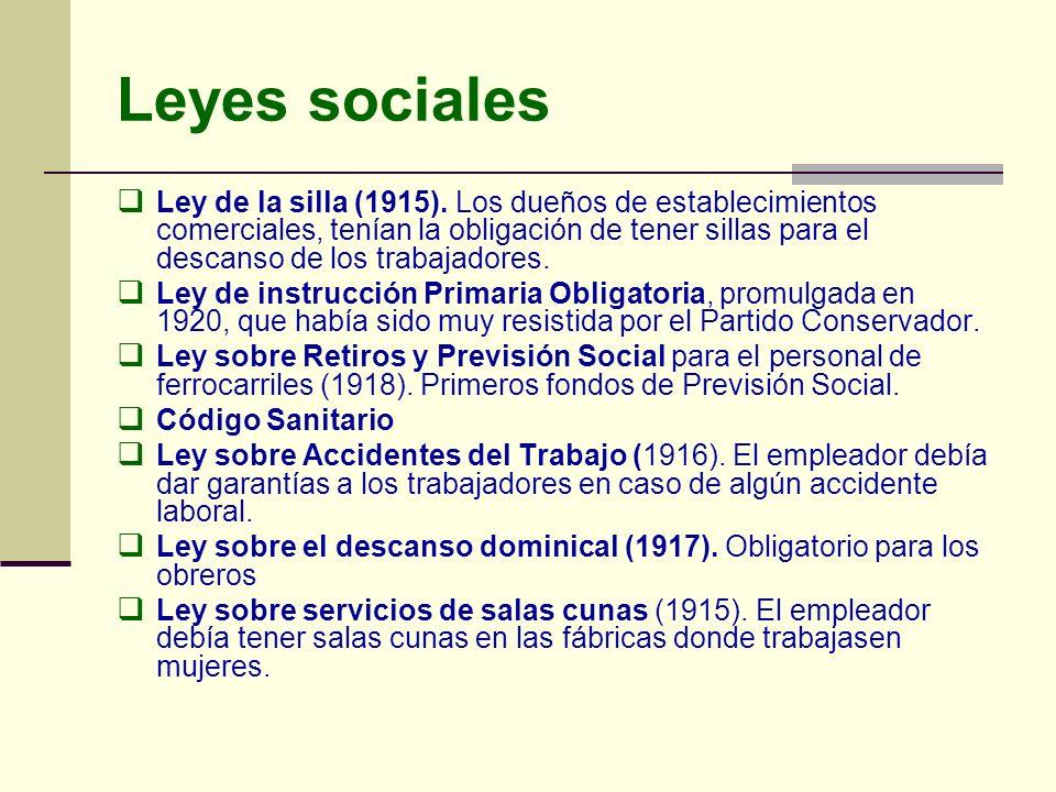 Leyes sociales Ley de la silla (1915). Los dueños de establecimientos comerciales, tenían la obligación de tener sillas para el descanso de los trabaj