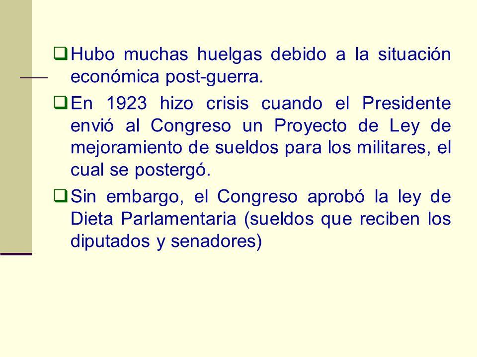 Hubo muchas huelgas debido a la situación económica post-guerra. En 1923 hizo crisis cuando el Presidente envió al Congreso un Proyecto de Ley de mejo