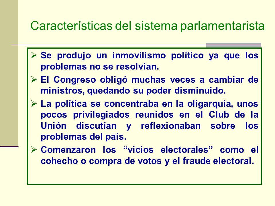 Características del sistema parlamentarista Se produjo un inmovilismo político ya que los problemas no se resolvían. El Congreso obligó muchas veces a