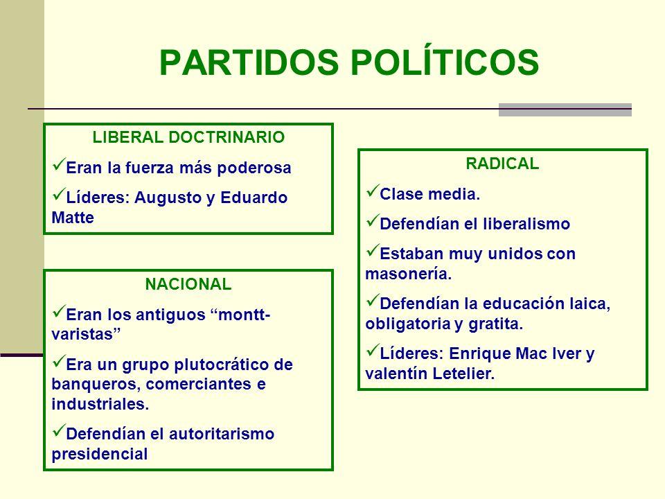 PARTIDOS POLÍTICOS LIBERAL DOCTRINARIO Eran la fuerza más poderosa Líderes: Augusto y Eduardo Matte NACIONAL Eran los antiguos montt- varistas Era un