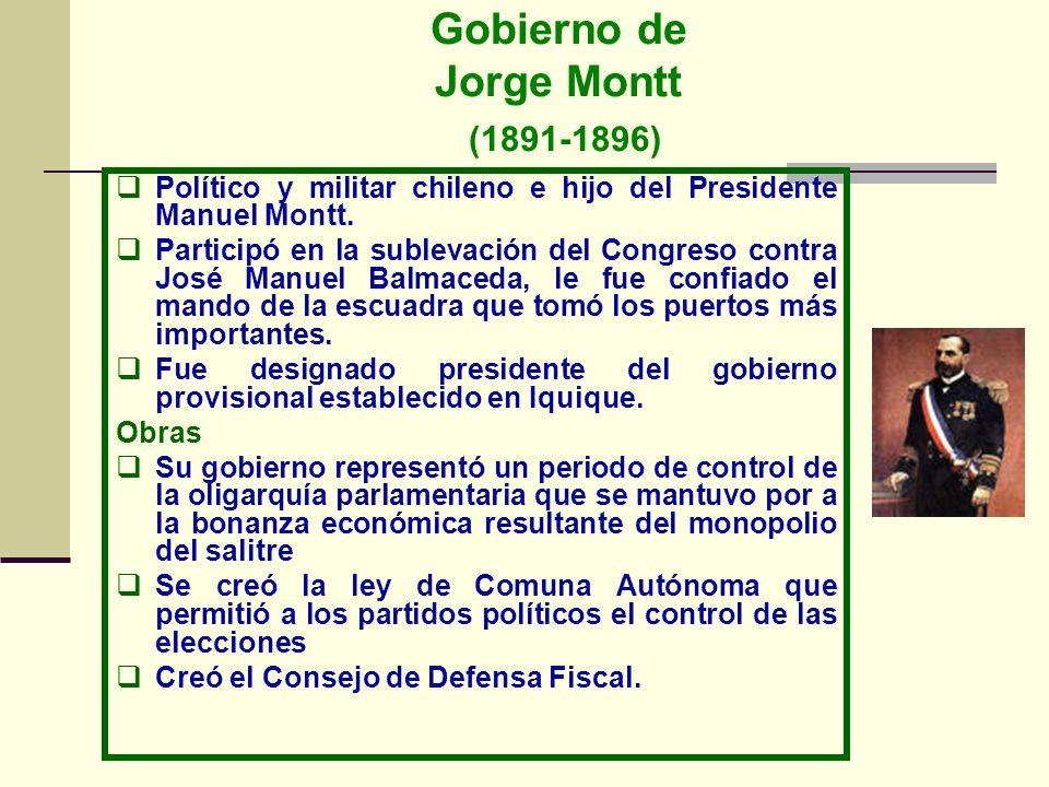 Gobierno de Juan Luis Sanfuentes (1915-1920) Político y abogado chileno, Era miembro del Partido Liberal Democrático (balmacedista), Fue diputado del Congreso Constituyente, ministro de Hacienda, presidente del partido balmacedista, Obras Mantuvo al país en una posición de neutralidad durante la I Guerra Mundial.