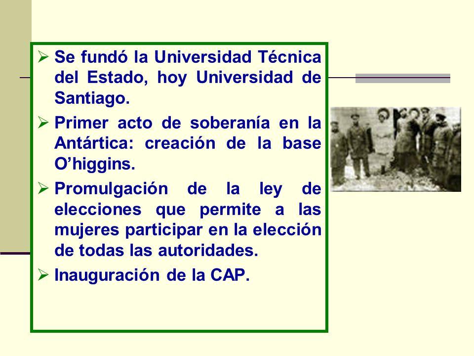Se fundó la Universidad Técnica del Estado, hoy Universidad de Santiago. Primer acto de soberanía en la Antártica: creación de la base Ohiggins. Promu