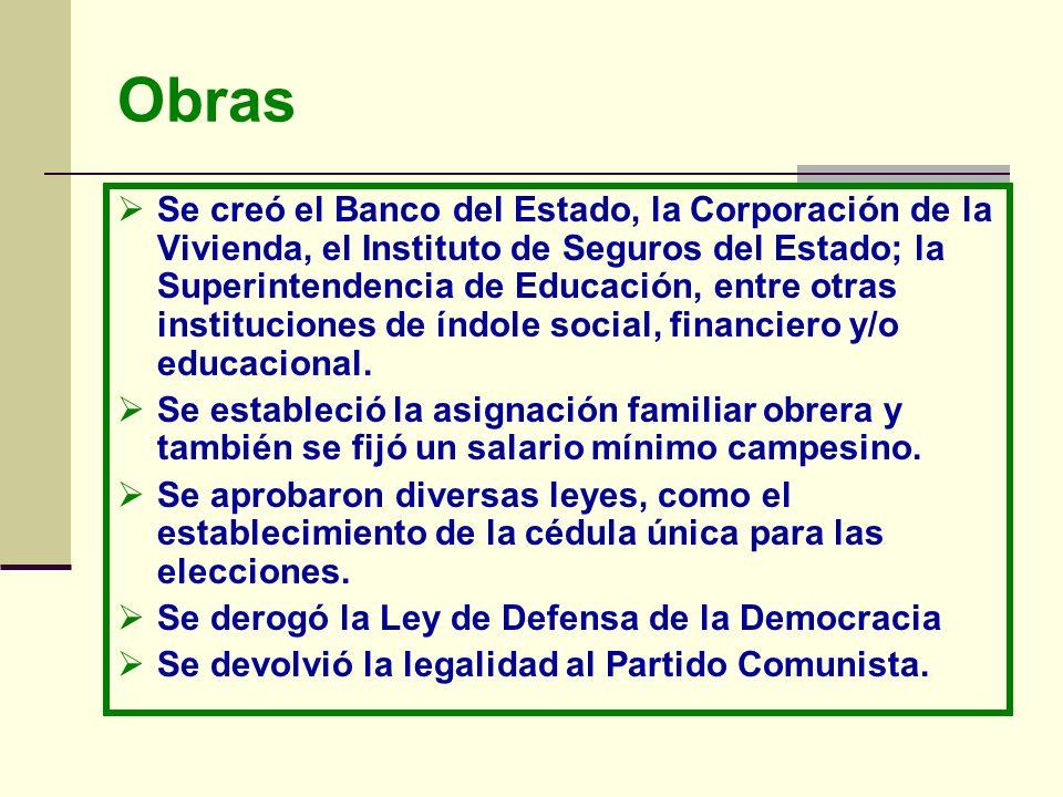 Obras Se creó el Banco del Estado, la Corporación de la Vivienda, el Instituto de Seguros del Estado; la Superintendencia de Educación, entre otras in