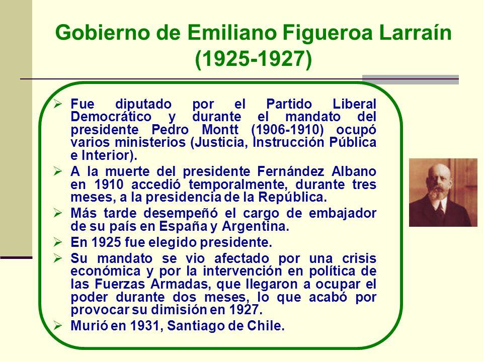 Gobierno de Emiliano Figueroa Larraín (1925-1927) Fue diputado por el Partido Liberal Democrático y durante el mandato del presidente Pedro Montt (190