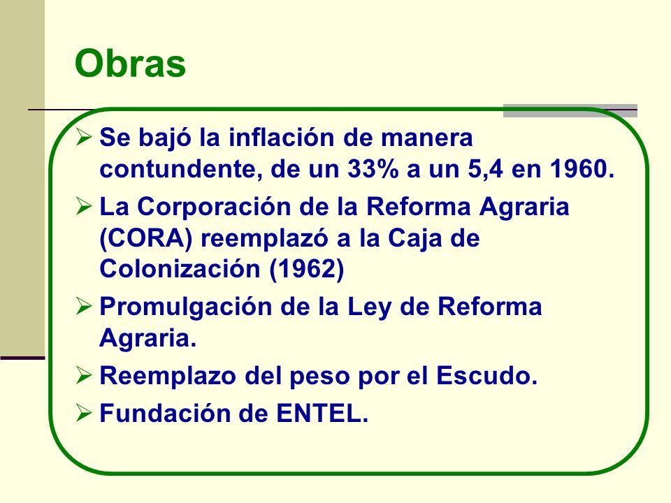 Obras Se bajó la inflación de manera contundente, de un 33% a un 5,4 en 1960. La Corporación de la Reforma Agraria (CORA) reemplazó a la Caja de Colon