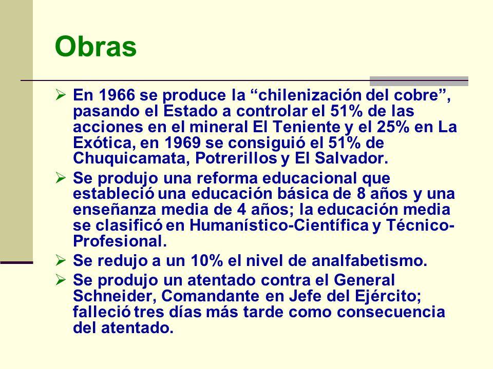 Obras En 1966 se produce la chilenización del cobre, pasando el Estado a controlar el 51% de las acciones en el mineral El Teniente y el 25% en La Exó