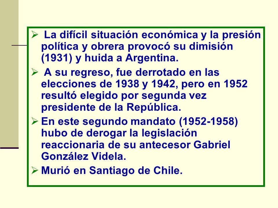 La difícil situación económica y la presión política y obrera provocó su dimisión (1931) y huida a Argentina. A su regreso, fue derrotado en las elecc