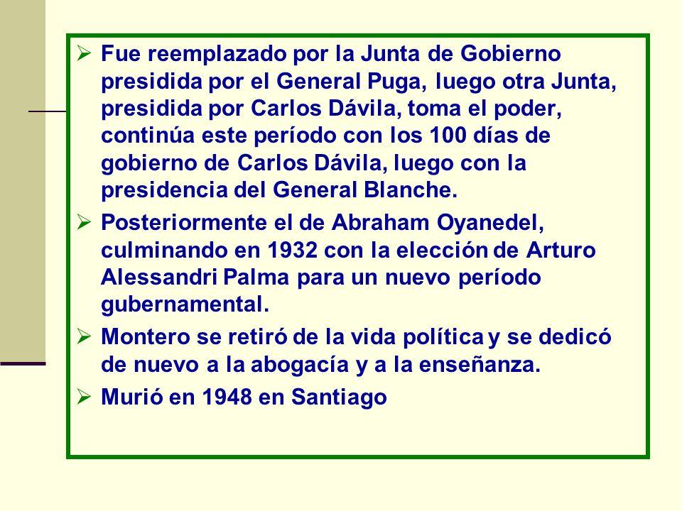 Fue reemplazado por la Junta de Gobierno presidida por el General Puga, luego otra Junta, presidida por Carlos Dávila, toma el poder, continúa este pe