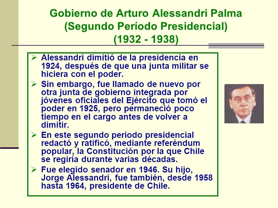Gobierno de Arturo Alessandri Palma (Segundo Período Presidencial) (1932 - 1938) Alessandri dimitió de la presidencia en 1924, después de que una junt