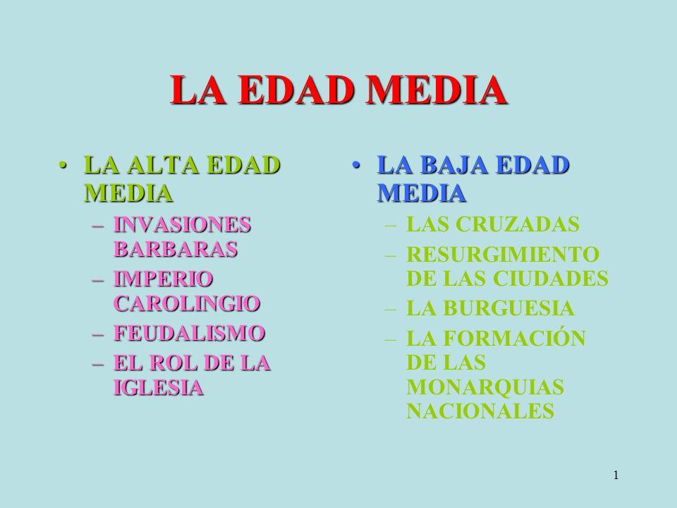 1 LA EDAD MEDIA LA ALTA EDAD MEDIALA ALTA EDAD MEDIA –INVASIONES BARBARAS –IMPERIO CAROLINGIO –FEUDALISMO –EL ROL DE LA IGLESIA LA BAJA EDAD MEDIALA BAJA EDAD MEDIA –LAS CRUZADAS –RESURGIMIENTO DE LAS CIUDADES –LA BURGUESIA –LA FORMACIÓN DE LAS MONARQUIAS NACIONALES