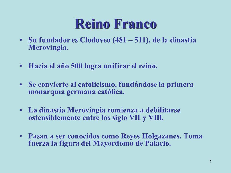 7 Reino Franco Su fundador es Clodoveo (481 – 511), de la dinastía Merovingia. Hacia el año 500 logra unificar el reino. Se convierte al catolicismo,