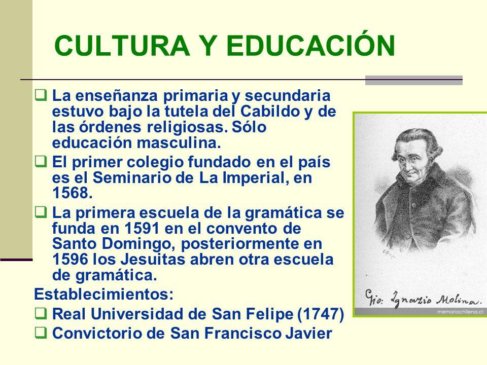 CULTURA Y EDUCACIÓN La enseñanza primaria y secundaria estuvo bajo la tutela del Cabildo y de las órdenes religiosas. Sólo educación masculina. El pri