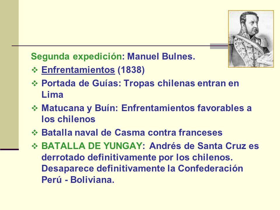 Segunda expedición: Manuel Bulnes. Enfrentamientos (1838) Portada de Guías: Tropas chilenas entran en Lima Matucana y Buín: Enfrentamientos favorables