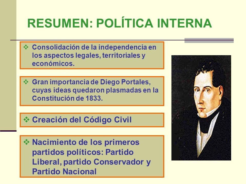 RESUMEN: POLÍTICA INTERNA Consolidación de la independencia en los aspectos legales, territoriales y económicos. Gran importancia de Diego Portales, c
