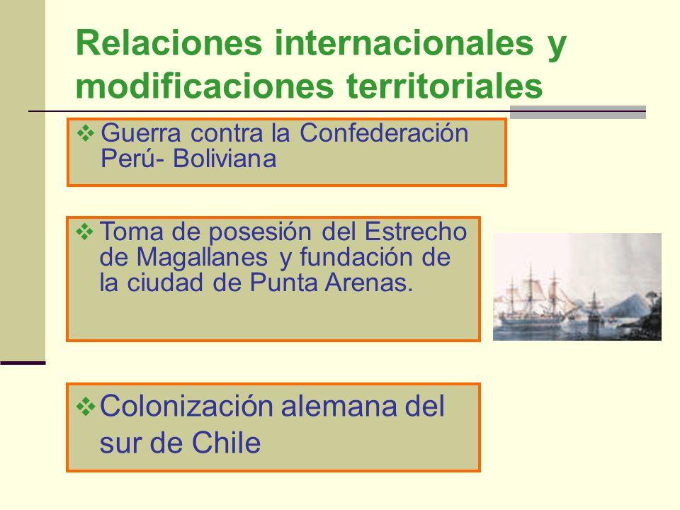 Relaciones internacionales y modificaciones territoriales Guerra contra la Confederación Perú- Boliviana Toma de posesión del Estrecho de Magallanes y