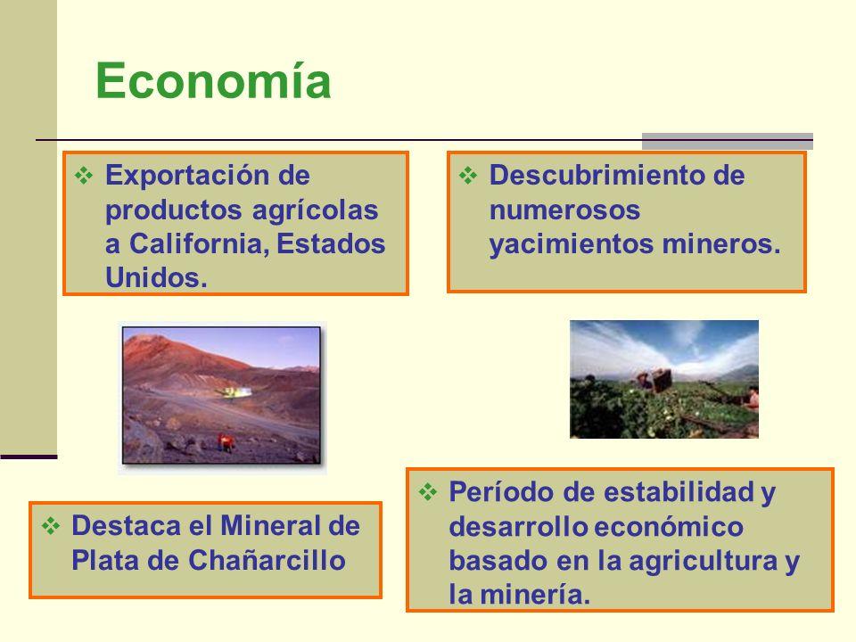 Economía Descubrimiento de numerosos yacimientos mineros. Exportación de productos agrícolas a California, Estados Unidos. Período de estabilidad y de