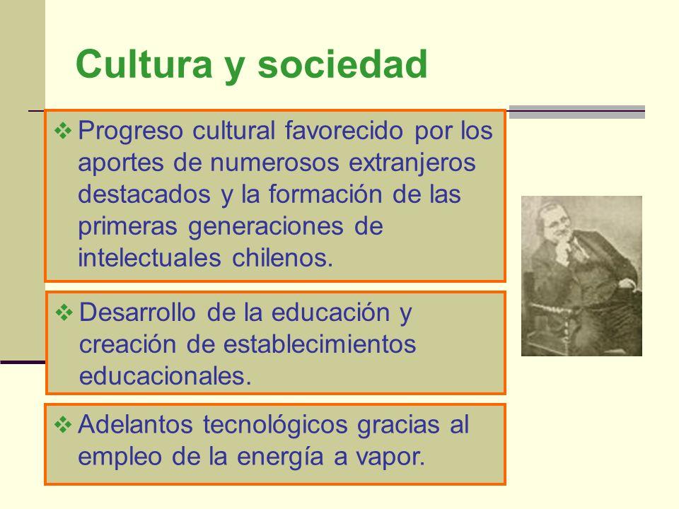 Cultura y sociedad Progreso cultural favorecido por los aportes de numerosos extranjeros destacados y la formación de las primeras generaciones de int