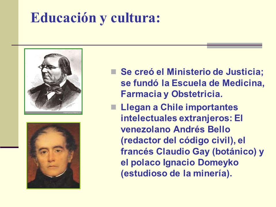 Educación y cultura: Se creó el Ministerio de Justicia; se fundó la Escuela de Medicina, Farmacia y Obstetricia. Llegan a Chile importantes intelectua