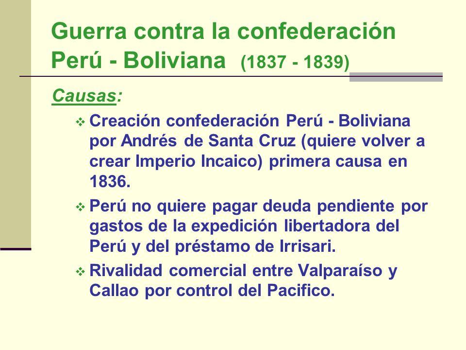 Guerra contra la confederación Perú - Boliviana (1837 - 1839) Causas: Creación confederación Perú - Boliviana por Andrés de Santa Cruz (quiere volver