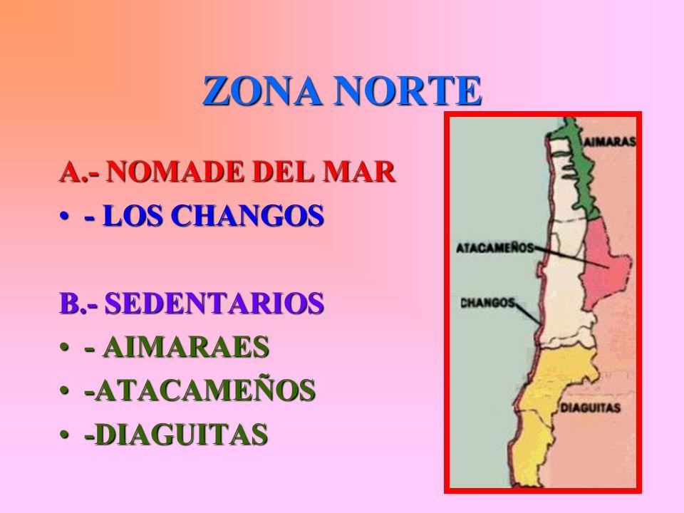 INDIGENAS PRECOLOMBINOS CHILENOS Estos se dividen en tres zonas: Zona Norte Zona Central Zona Sur