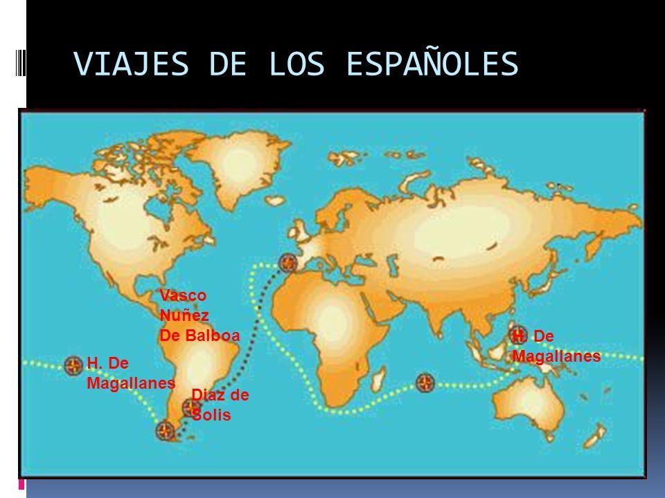 VIAJES DE LOS ESPAÑOLES Vasco Nuñez De Balboa Diaz de Solis H. De Magallanes H. De Magallanes