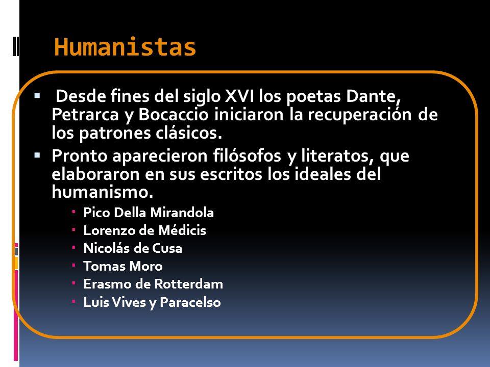 Humanistas Desde fines del siglo XVI los poetas Dante, Petrarca y Bocaccio iniciaron la recuperación de los patrones clásicos. Pronto aparecieron filó