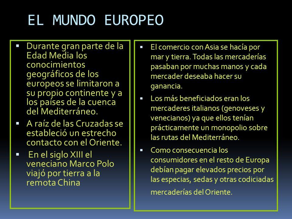EL MUNDO EUROPEO Durante gran parte de la Edad Media los conocimientos geográficos de los europeos se limitaron a su propio continente y a los países