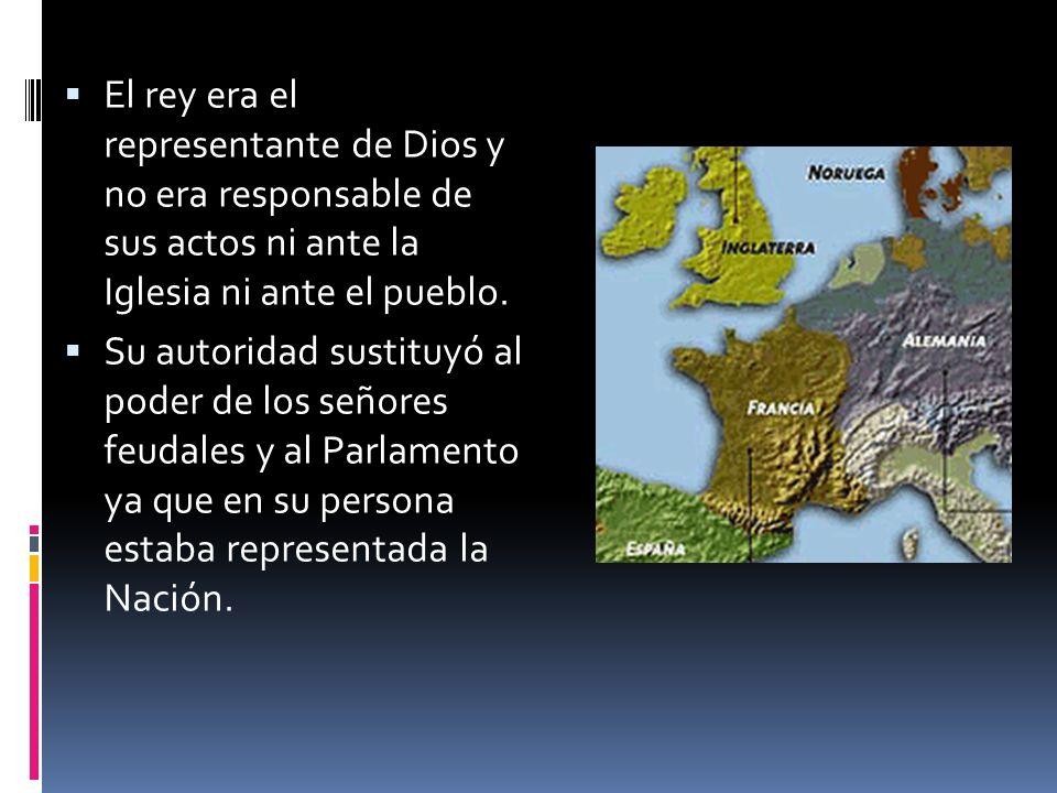 El rey absoluto tiene las siguientes características: Título hereditario Rey no se somete a autoridad universal La voluntad del rey es la ley, pero Dios esta sobre él.