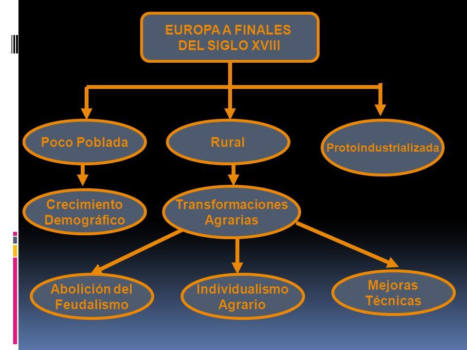 EUROPA A FINALES DEL SIGLO XVIII Poco PobladaRural Protoindustrializada Crecimiento Demográfico Transformaciones Agrarias Abolición del Feudalismo Ind