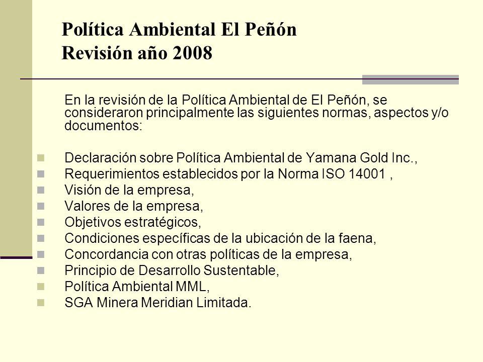 Política Ambiental El Peñón Revisión año 2008 En la revisión de la Política Ambiental de El Peñón, se consideraron principalmente las siguientes norma