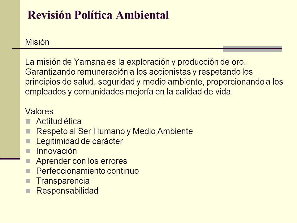 Revisión Política Ambiental Misión La misión de Yamana es la exploración y producción de oro, Garantizando remuneración a los accionistas y respetando