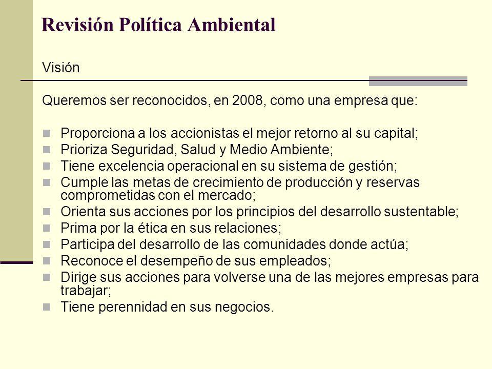 Revisión Política Ambiental Visión Queremos ser reconocidos, en 2008, como una empresa que: Proporciona a los accionistas el mejor retorno al su capit