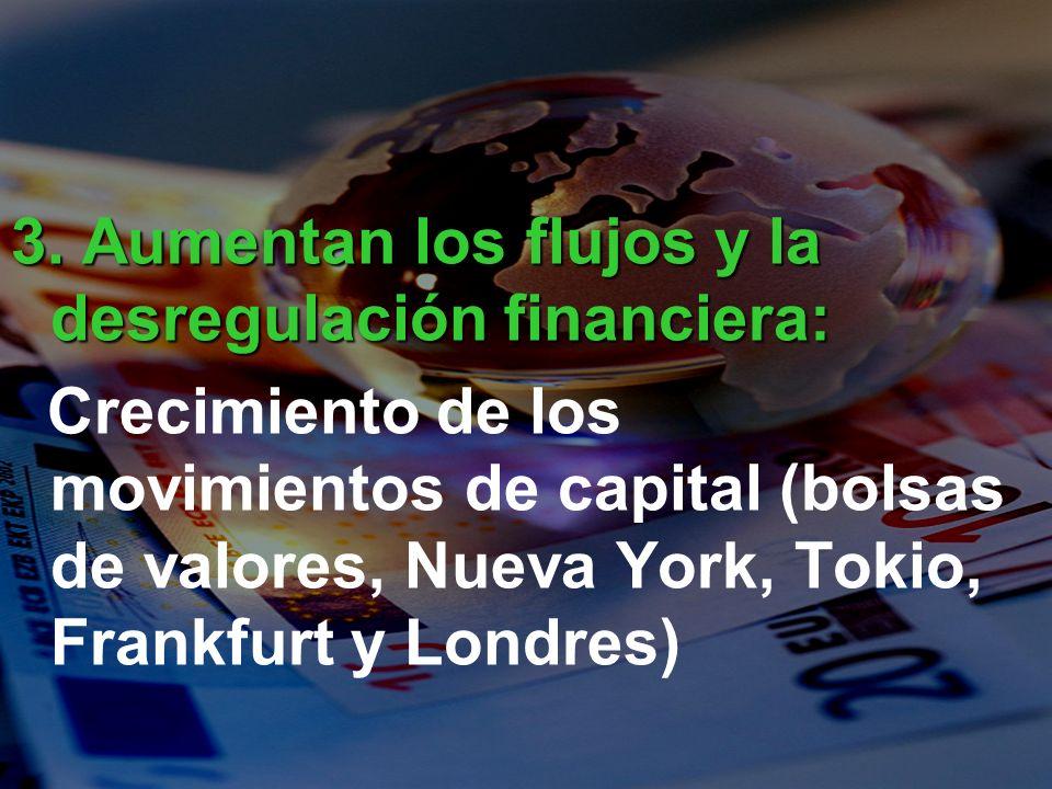 3. Aumentan los flujos y la desregulación financiera: Crecimiento de los movimientos de capital (bolsas de valores, Nueva York, Tokio, Frankfurt y Lon