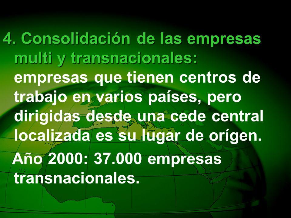 4. Consolidación de las empresas multi y transnacionales: 4. Consolidación de las empresas multi y transnacionales: empresas que tienen centros de tra