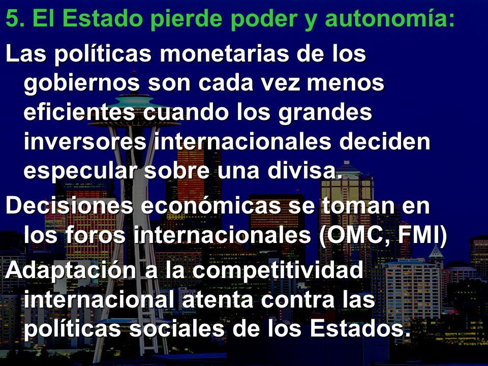 5. El Estado pierde poder y autonomía: Las políticas monetarias de los gobiernos son cada vez menos eficientes cuando los grandes inversores internaci