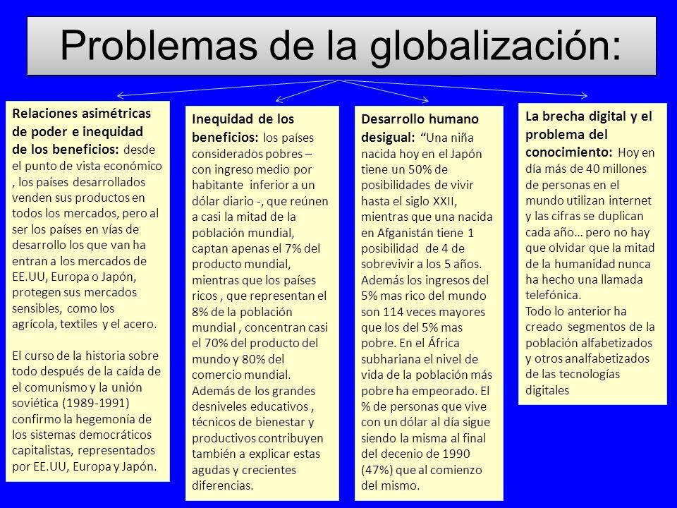 Problemas de la globalización: Relaciones asimétricas de poder e inequidad de los beneficios: desde el punto de vista económico, los países desarrolla