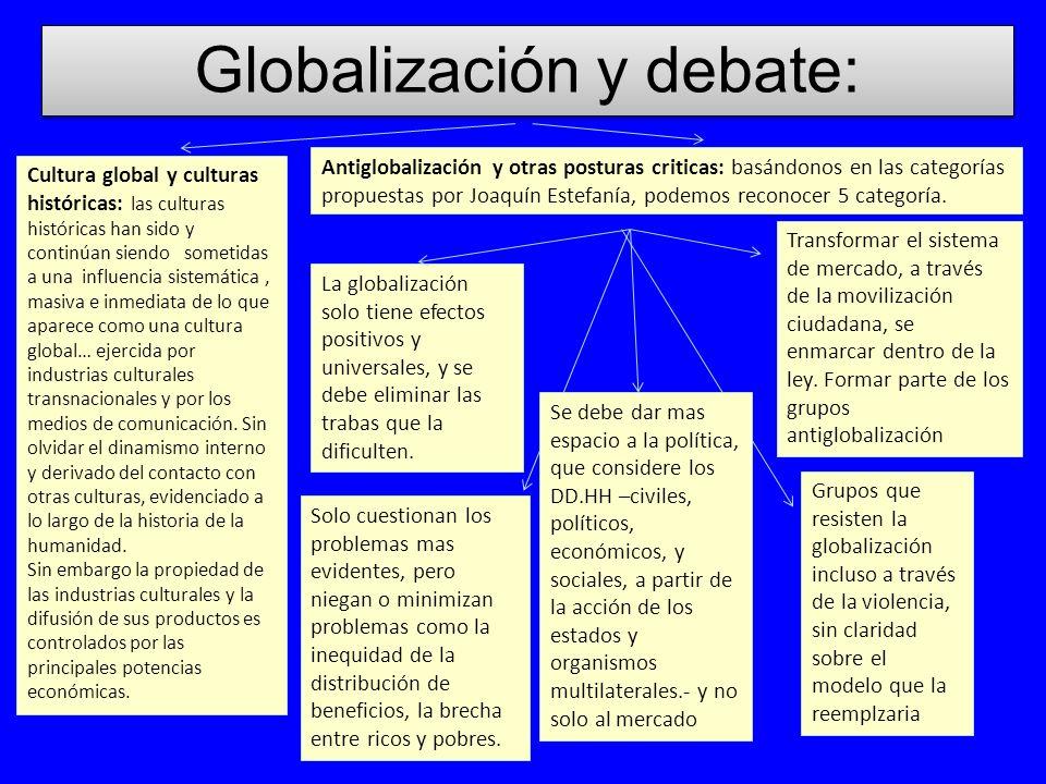 Globalización y debate: Antiglobalización y otras posturas criticas: basándonos en las categorías propuestas por Joaquín Estefanía, podemos reconocer