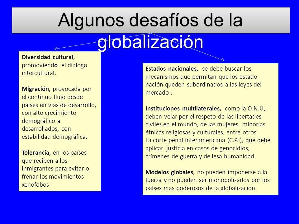Algunos desafíos de la globalización Diversidad cultural, promoviendo el dialogo intercultural. Migración, provocada por el continuo flujo desde paíse