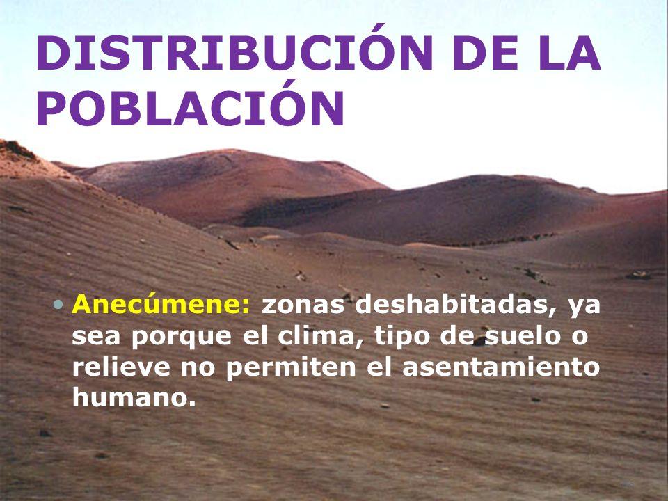 DISTRIBUCIÓN DE LA POBLACIÓN Anecúmene: zonas deshabitadas, ya sea porque el clima, tipo de suelo o relieve no permiten el asentamiento humano. 60