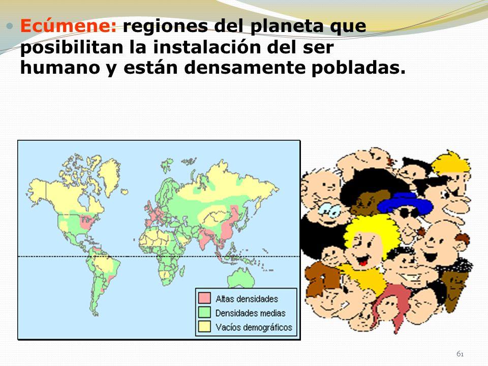 Ecúmene: regiones del planeta que posibilitan la instalación del ser humano y están densamente pobladas. 61
