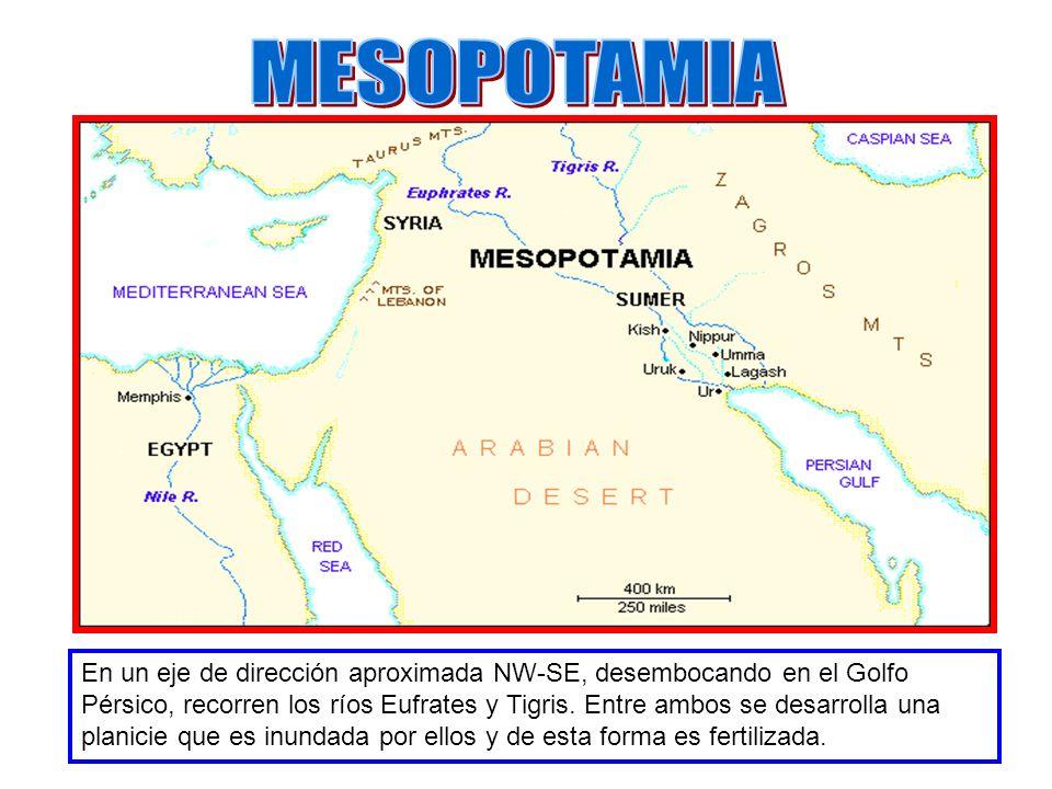 En un eje de dirección aproximada NW-SE, desembocando en el Golfo Pérsico, recorren los ríos Eufrates y Tigris. Entre ambos se desarrolla una planicie