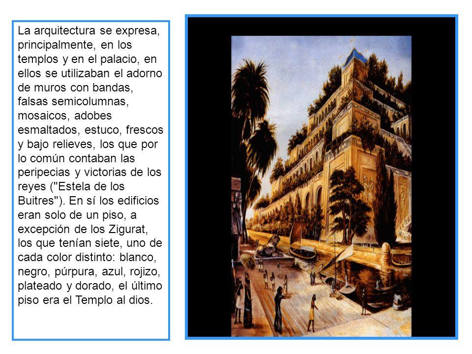 La arquitectura se expresa, principalmente, en los templos y en el palacio, en ellos se utilizaban el adorno de muros con bandas, falsas semicolumnas,