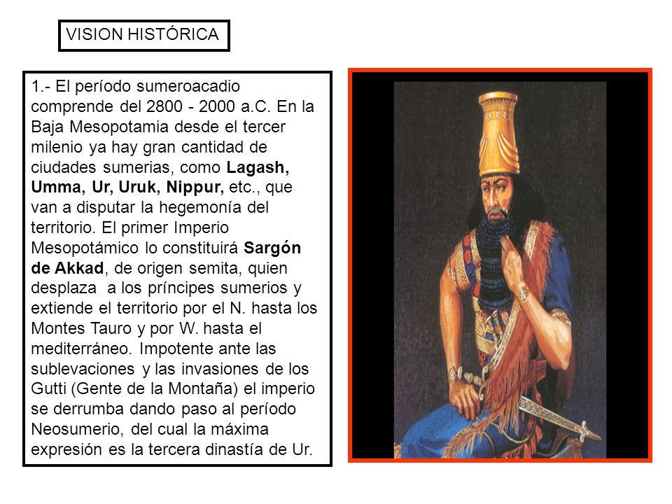 VISION HISTÓRICA 1.- El período sumeroacadio comprende del 2800 - 2000 a.C. En la Baja Mesopotamia desde el tercer milenio ya hay gran cantidad de ciu