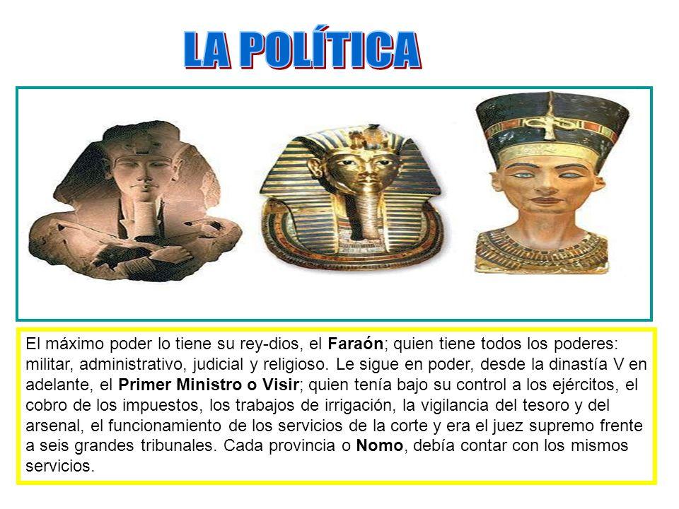 El máximo poder lo tiene su rey-dios, el Faraón; quien tiene todos los poderes: militar, administrativo, judicial y religioso. Le sigue en poder, desd