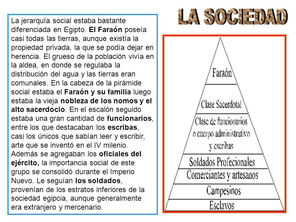 La jerarquía social estaba bastante diferenciada en Egipto.