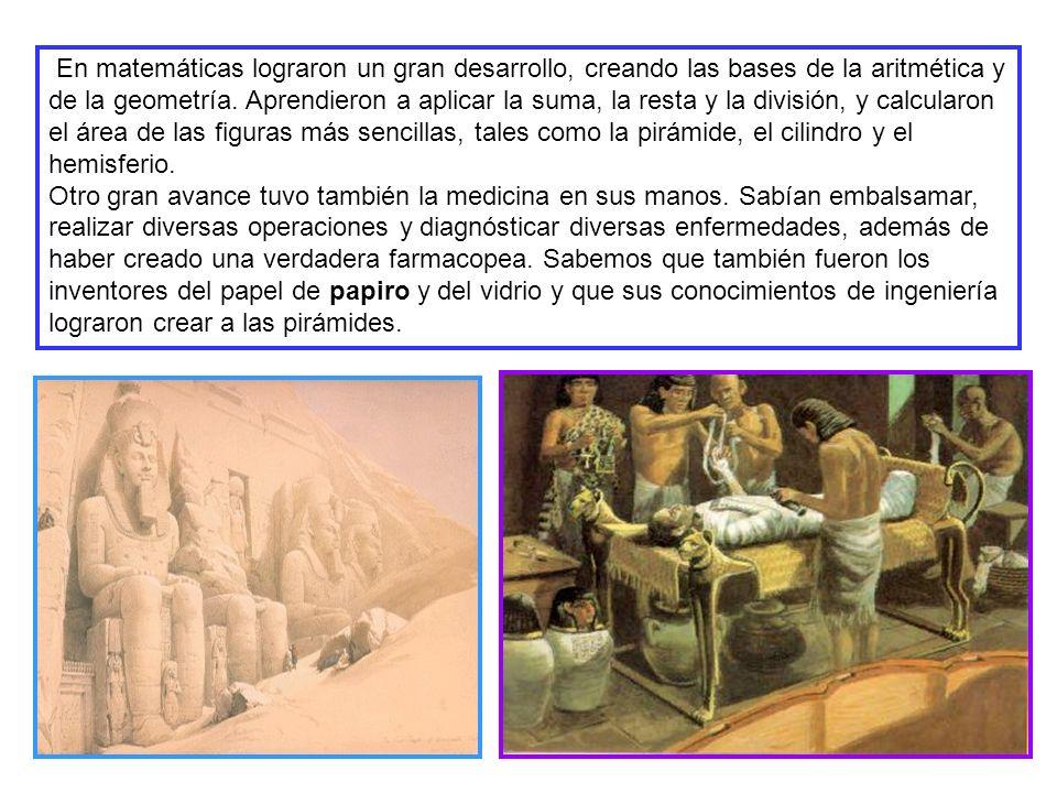 En matemáticas lograron un gran desarrollo, creando las bases de la aritmética y de la geometría.