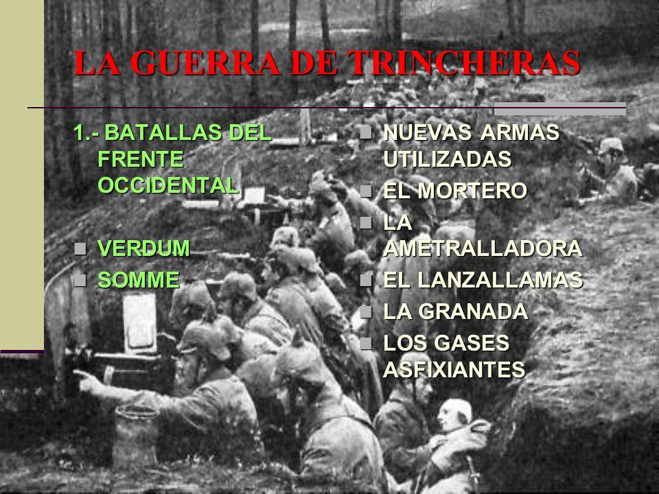 LA GUERRA DE TRINCHERAS 1.- BATALLAS DEL FRENTE OCCIDENTAL VERDUM VERDUM SOMME SOMME NUEVAS ARMAS UTILIZADAS NUEVAS ARMAS UTILIZADAS EL MORTERO EL MOR