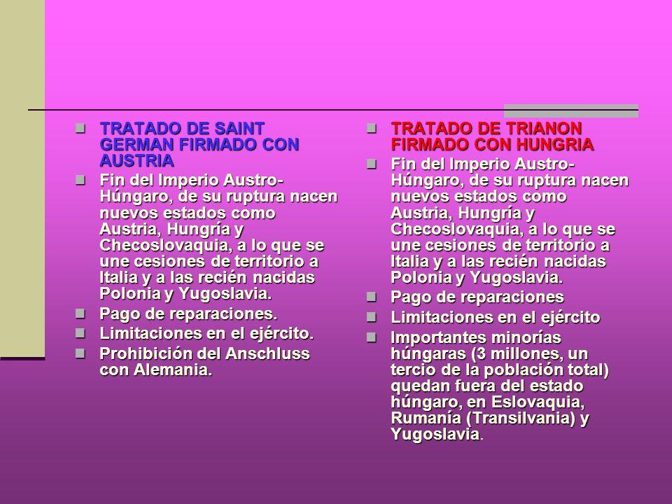 TRATADO DE SAINT GERMAN FIRMADO CON AUSTRIA TRATADO DE SAINT GERMAN FIRMADO CON AUSTRIA Fin del Imperio Austro- Húngaro, de su ruptura nacen nuevos es